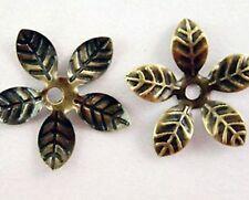 FORTY Antique Bronze Flexible Filigree Flower Bead Caps NICKEL Free 15mm 5 Petal
