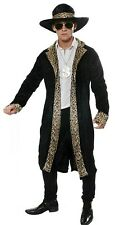 Mens Leopard Print Black Pimp Gangster Rapper 70s 80s Fancy Dress Costume