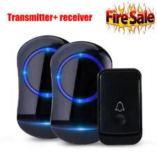 Wireless Doorbell Kit,Waterproof Door Chime Kit w/ 2 Plug-in Receivers Led Flash