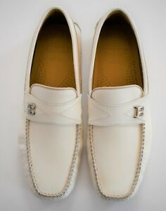 New BALLY SWITZERLAND Off-White Leather DRIVING LOAFER Shoes US-6.5EEE EU-5.5F
