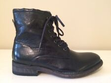 BLACKSTONE BLACK LEATHER LACE-UP COMBAT BOOTS SIZE 36