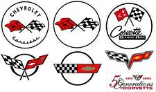 """#p528 (7) 3.75"""" Corvette Stingray Flag Decal Sticker Laminated C1 C2 C4 C5 C6"""