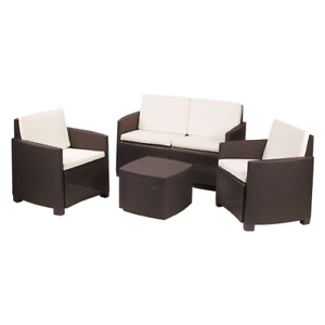 Etna garden lounge set table chairs sofa brown rattan effect for outdoor use