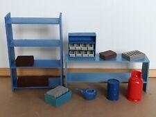 1/18 scale garage diorama accessories: wall shelf, barrel, crates, workbench