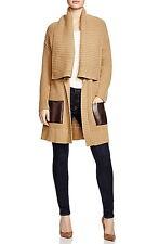 NWT $175 MICHAEL KORS Faux Leather Pocket Cardigan Dark Camel XS S M L