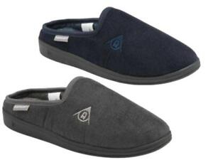 Mens Dunlop Mule Slippers Soft Corduroy Effect Comfy Warm Lining Outdoor Sole