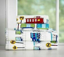 POTTERY BARN KIDS ALL ABOARD TRAINS TWIN SHEET SET FLANNEL 3 PIECES