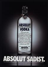 2001 ABSOLUT Vodka - Absolut Sadist - VINTAGE AD