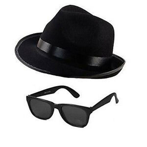 NEW BLUES BROTHERS HAT SUNGLASSES FANCY DRESS  COSTUME STAG PARTY GANGSTER 1980s