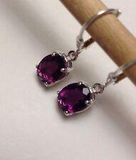 925 Sterling Silver Oval Cut Amethyst Fluorite Dangle Leverback Earrings 4.00CTW