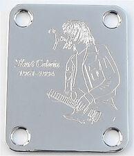 GUITAR NECK PLATE Custom Engraved Etched Fit Fender - KURT COBAIN Nirvana CHROME