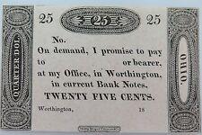 1819 OHIO EZRA WORTHINGTON UNCIRCULATED 25 CENT NOTE GRADED BY DOWNIES AUSTRALIA