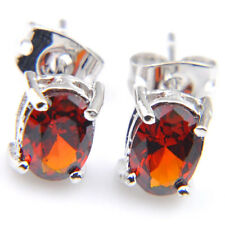 Garnet Gemstone Silver Stud Hook Earrings Special Gift Rectangle Style Fire Red