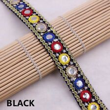 1 Yard Ethnic Mirror Lace Trim Ribbon Crochet Applique Embroidered Sewing Craft