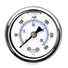 """1.5"""" Liquid Filled Pressure Gauge 300 PSI Air Compressor Center Back Mount 1/8"""