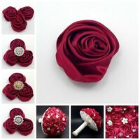 "Lot 24pc Wine Red 2"" Satin Ribbon Rose Flower DIY Wedding Bridal Bouquet 50mm"