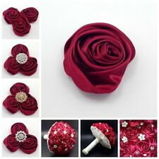 "Lot 12pc Wine Red 2"" Satin Ribbon Rose Flower DIY Wedding Bridal Bouquet 50mm"