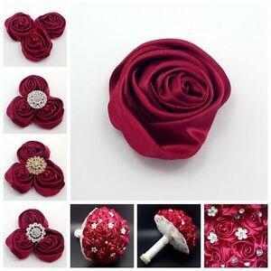 "Lot 50pc Wine Red 2"" Satin Ribbon Rose Flower DIY Wedding Bridal Bouquet 50mm"
