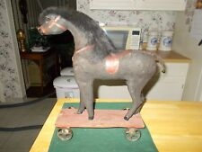 LATE 1800S EARLY 1900S MADE IN GERMANY BLACK PULL TOY HORSE WITH METAL WHEELS