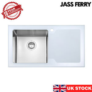 JASSFERRY New Premium White Glass Top Stainless Steel Kitchen Sink One Bowl