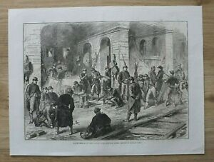 L12c) Holzstich Paris 1870 Gardes Mobiles Eisenbahn Krieg Frankreich 35x25 cm
