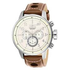 Invicta Men's Chronograph Watch S1 Rally Beige Dial Brown Leather Strap 25724