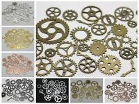 50 Assorted Steampunk Cogs Filigree Gears Pignons Charm Pendant Finding Disc