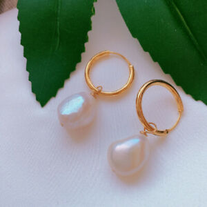 Natural white baroque pearl Earrings 18KGB Holiday gifts Classic Women Jewelry