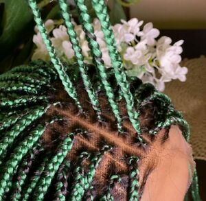 Braided Wig: Knotless Handmade box braidwig  Lace Closure wig Location USA
