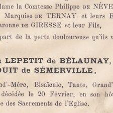 Aglaé Clotilde Lepetit De Belaunay Mauduit De Semerville 1878