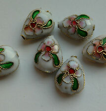 6 Cloisonne Beads, White/Pink/Green. Teardrop 12 mm. Jewellery Making/Crafts