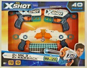 X Shot X-Shot Kickback MK3 36 Dart Bullet Rapid Fire Zuru 4 Gun 40 Piece Set 8+