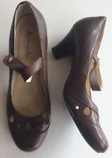 Accesorize Uk 6 Eu 39 Leather Brown Mary Janes