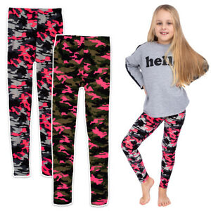 Girls Stretchy & Solid Military Pants Childs Cotton Breathable Leggings FS7135