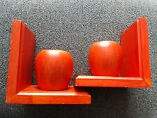 Book Ends. Orange Wooden Apples