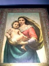 Large Gold & Red Embossed Wood Italian Tole Florentine Madonna Jesus Picture