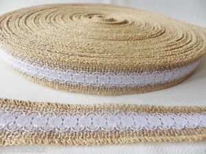 1m x 28mm Hessian Burlap Jute Ribbon with Lace Overlay - Bridal Floral Craft