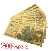 20 Pieces Zimbabwe 100 Trillion Dollar Note Golden Foil Banknote Collection aa