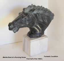 Large 1900's HORSE RUNNING MARBLE BUST SCULPTURE FANTASTIC DETAIL HIGH QUALITY