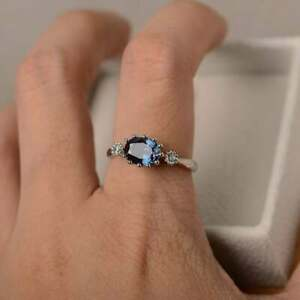 2ct 14K White Gold Over Oval Cut Sapphire Classic Anniversary Gift Ring For Her