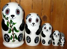 PANDA Nesting Dolls hand painted White & Black Matryoshka Russian small 5 signed