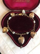 Fine antique Victorian baroque pearl & heart charms on 9ct gold Bracelet