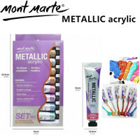 Metallic Acrylic Paint 8-Colour Set 18ML Mont Marte Art Supply Craft Painting