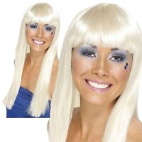 Long Blonde Wig 70's Music Retro Ladies Fancy Dress Accessory