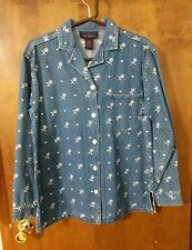 Women's Denim & Co Cotton Floral Embroidery Button Down Long Sleeved Shirt Small