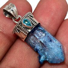 Aqua Aura Quartz - USA Point & Blue Topaz 925 Silver Pendant AP177011 249M