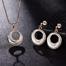 Lady Cubic Zirconia CZ Gold Platinum Drop Earrings Circle Pendant Necklace Set
