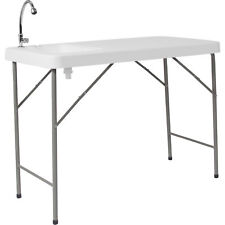 Multipurpose Folding Table with Sink- White 45inL x 23inW x 34inH DADPYZ116