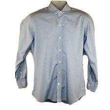 Ledbury Slim Fit Mens 16 Blue White Striped Long Sleeve Button Dress Shirt