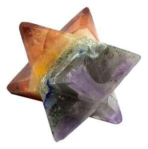 7 Chakra Seven Bonded Gemstone Merkaba Star Geometric Multi Stone Crystal Gift